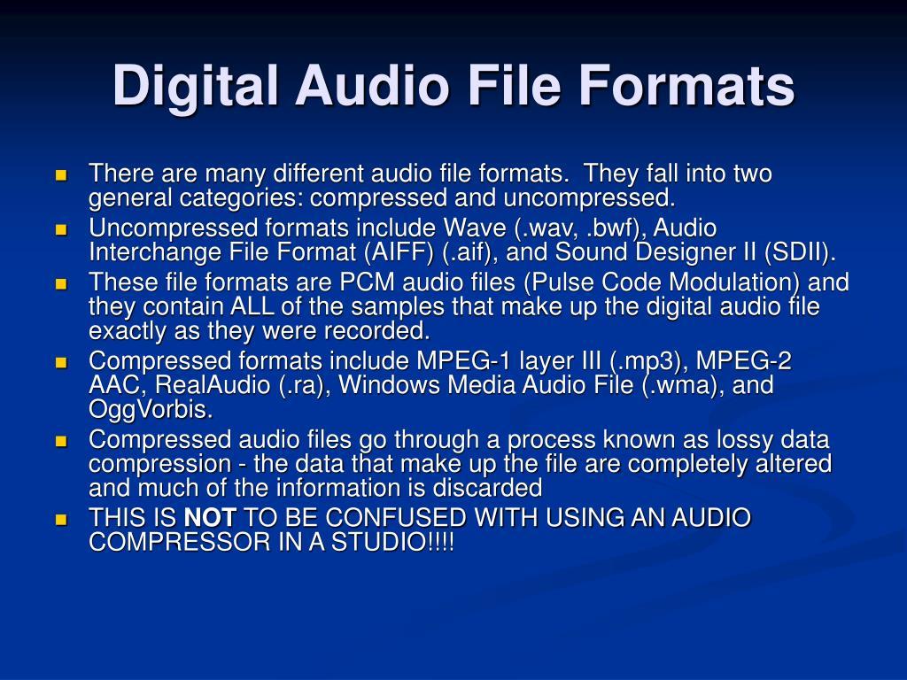 Digital Audio File Formats