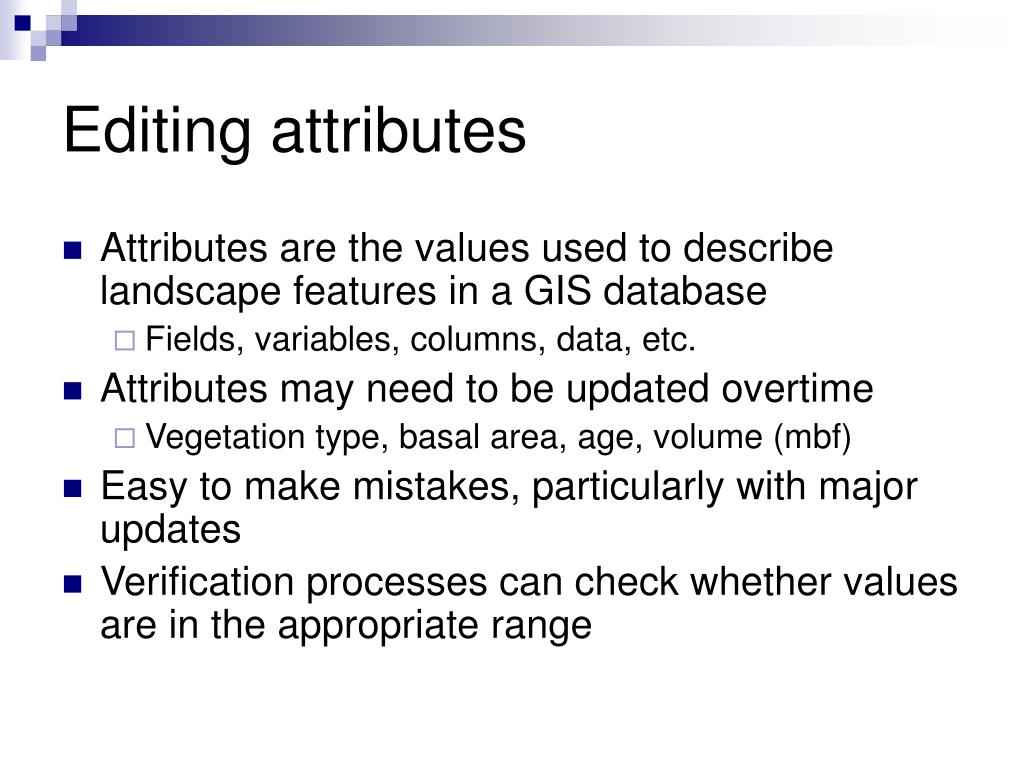Editing attributes