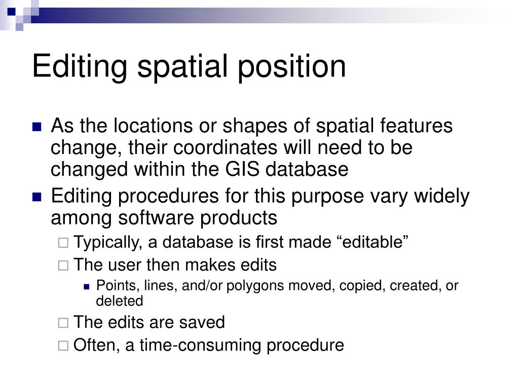 Editing spatial position