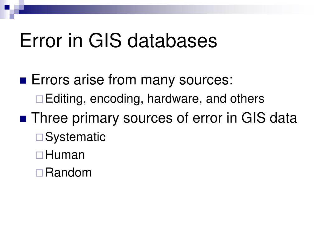 Error in GIS databases
