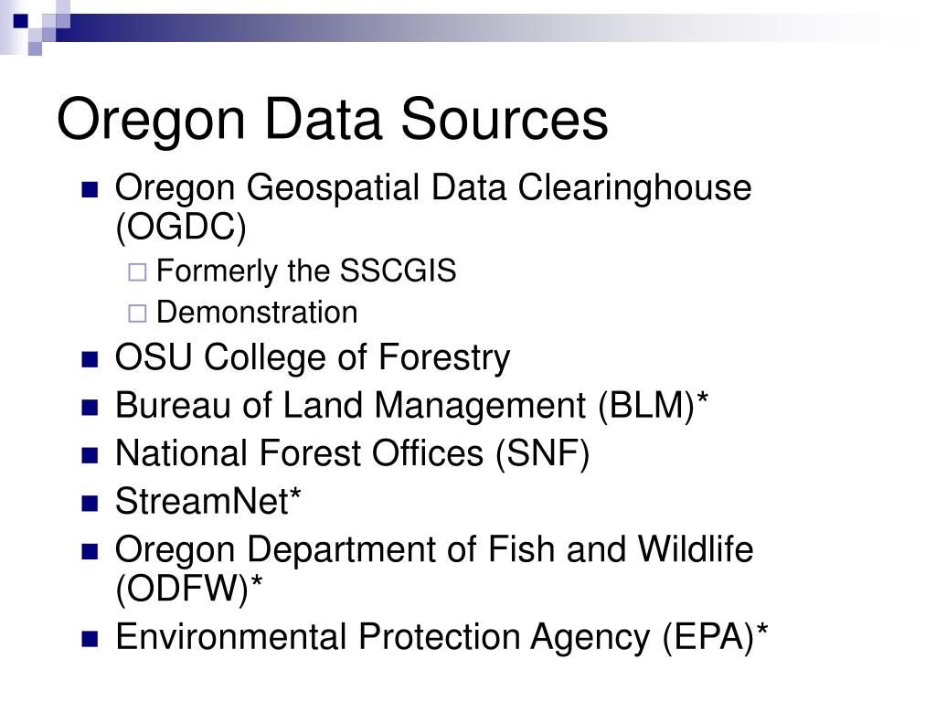 Oregon Data Sources
