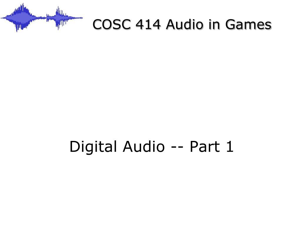 COSC 414 Audio in Games