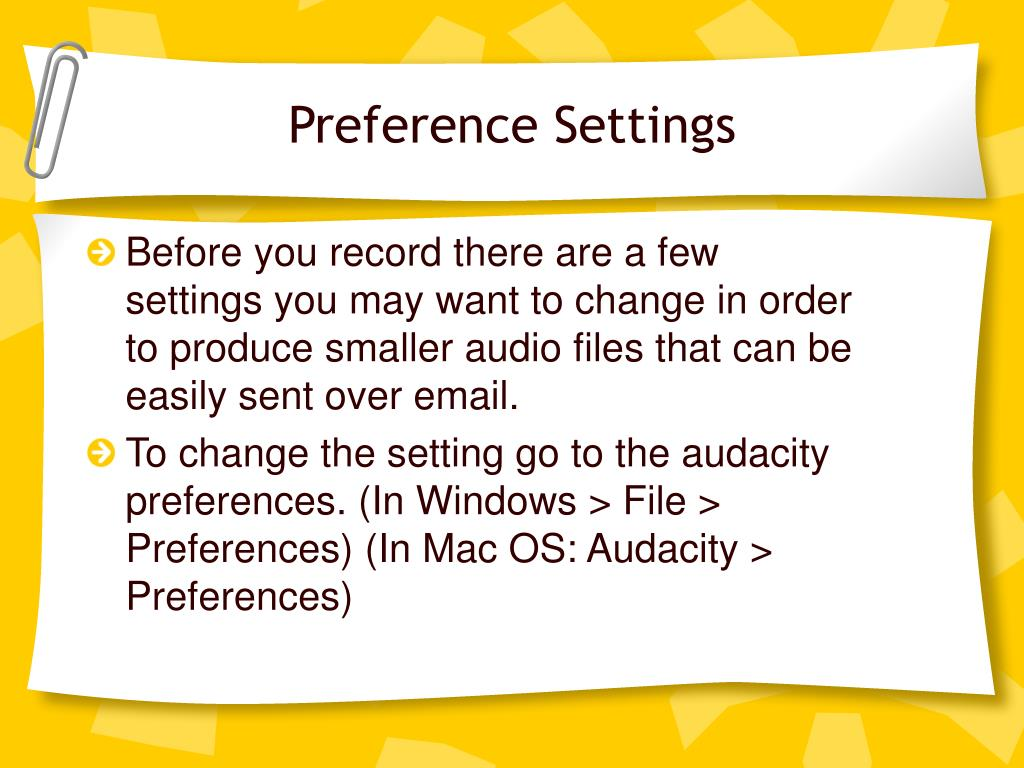 Preference Settings