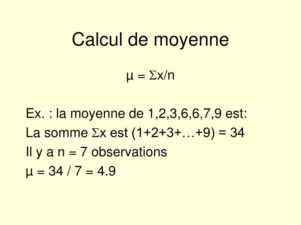 Calcul de moyenne