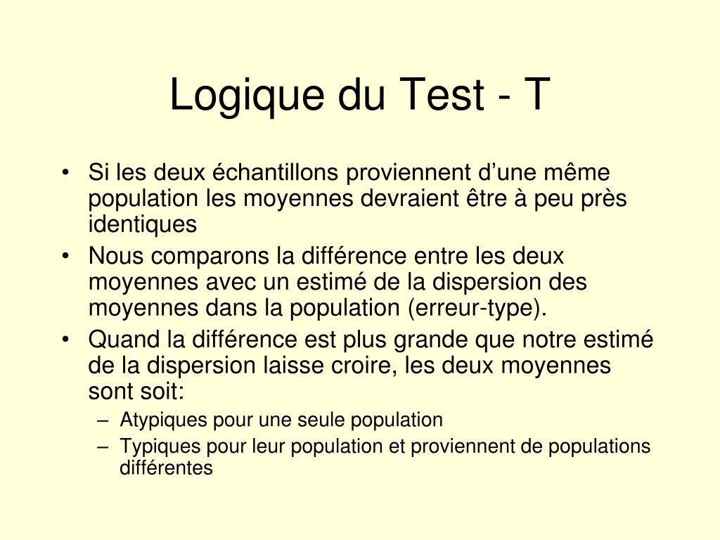 Logique du Test - T