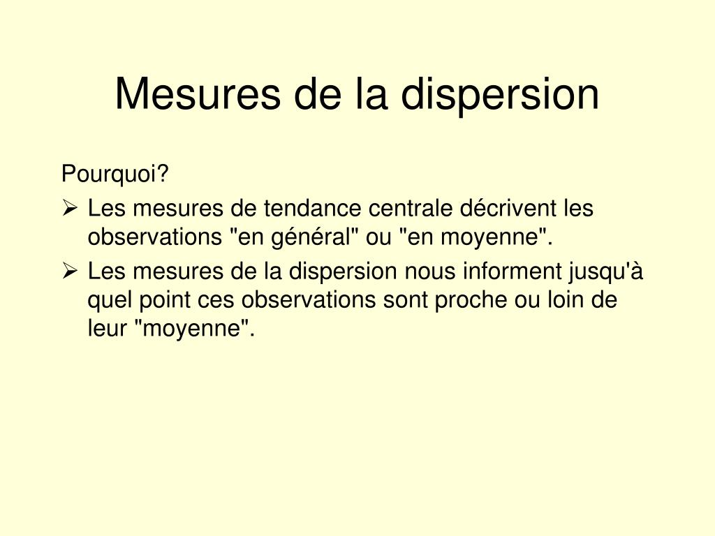 Mesures de la dispersion