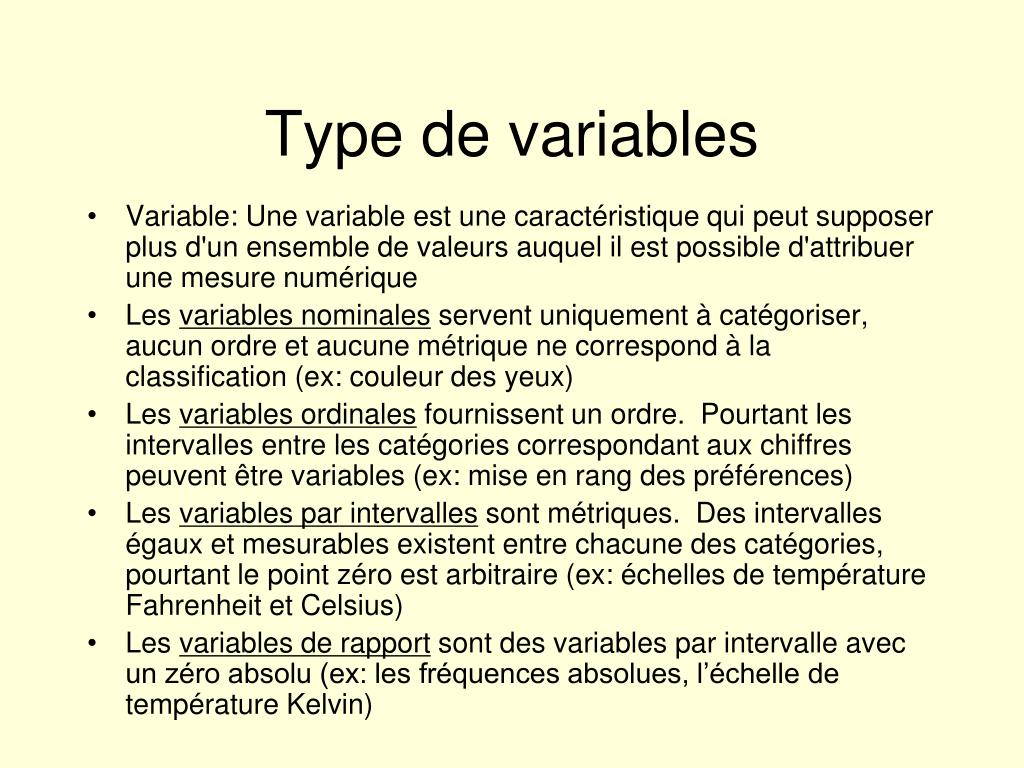Type de variables