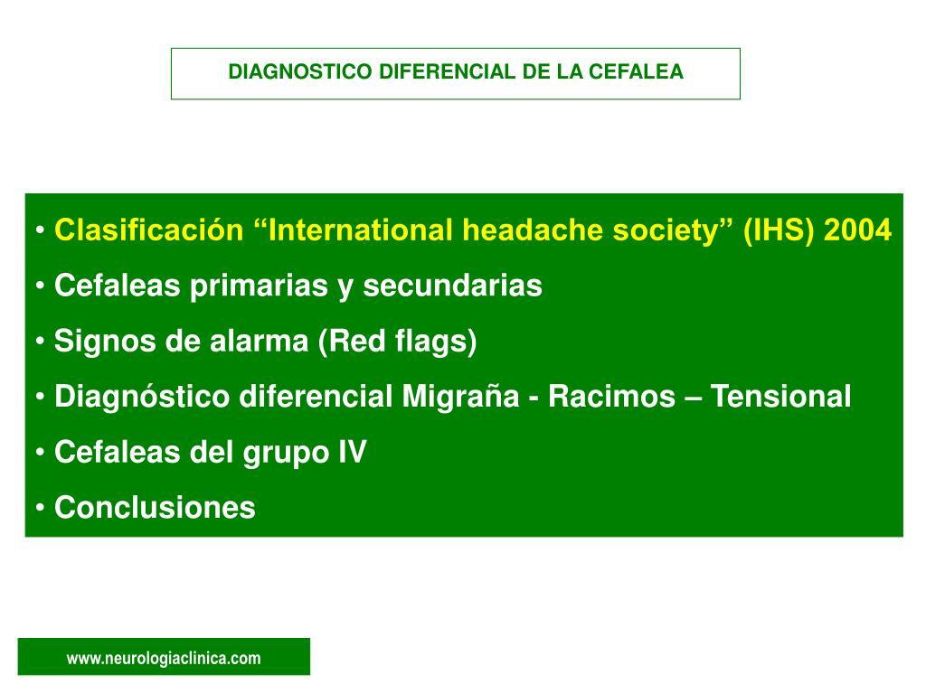 DIAGNOSTICO DIFERENCIAL DE LA CEFALEA