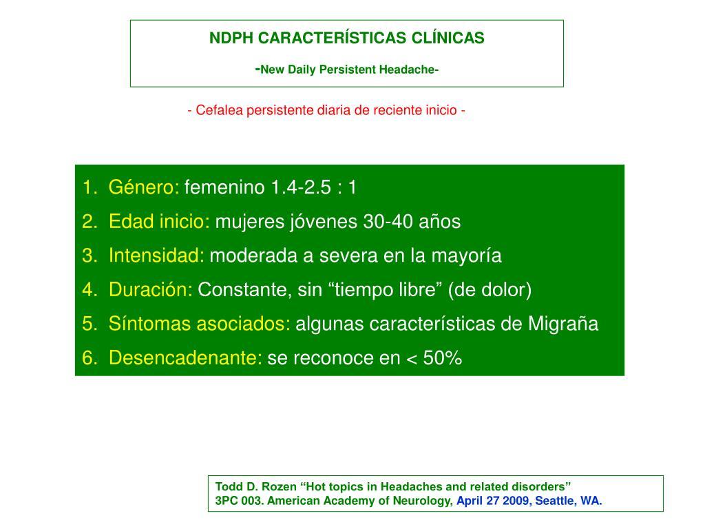 NDPH CARACTERÍSTICAS CLÍNICAS