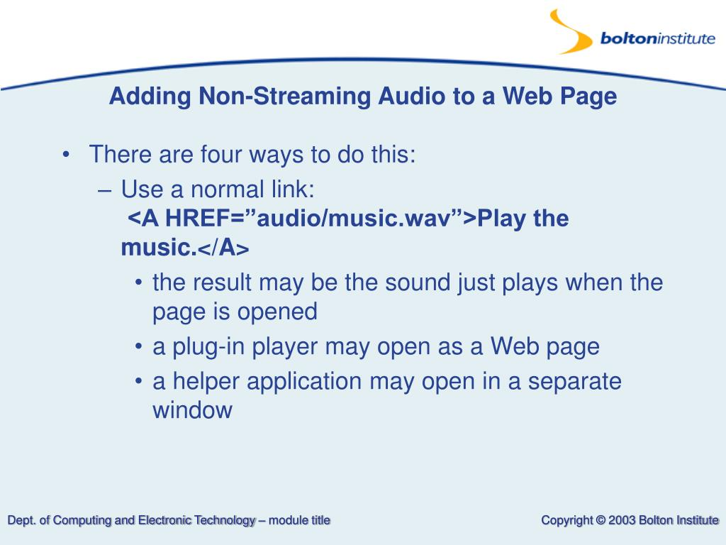 Adding Non-Streaming Audio to a Web Page