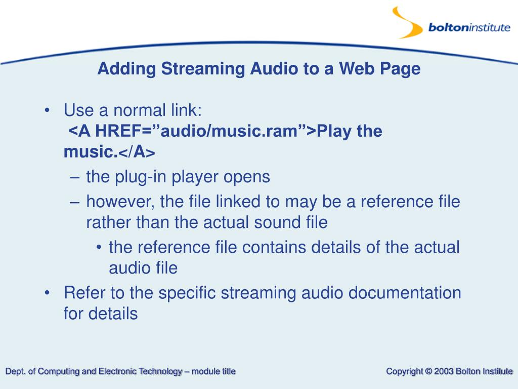 Adding Streaming Audio to a Web Page