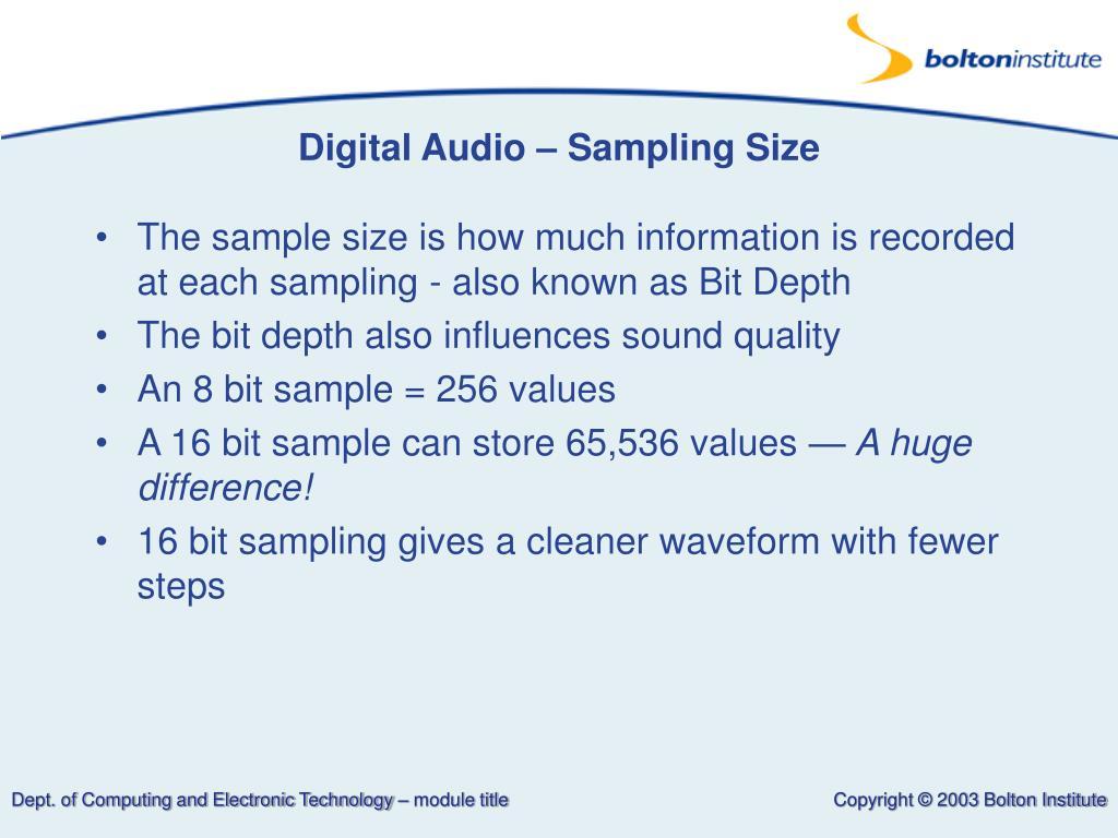 Digital Audio – Sampling Size