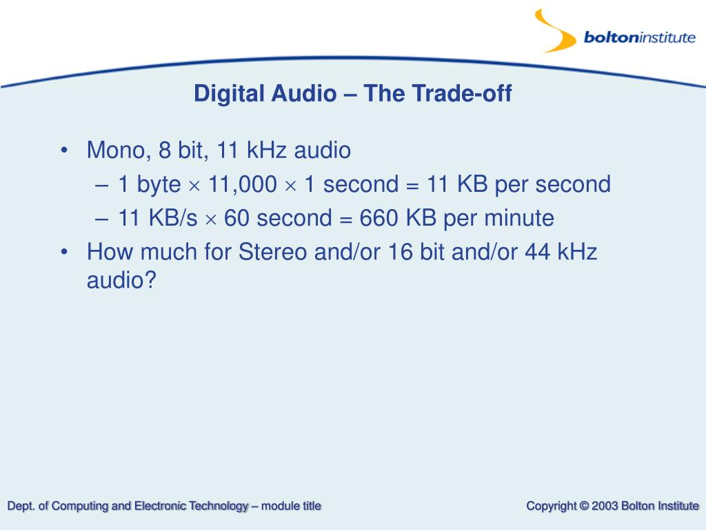 Digital Audio – The Trade-off