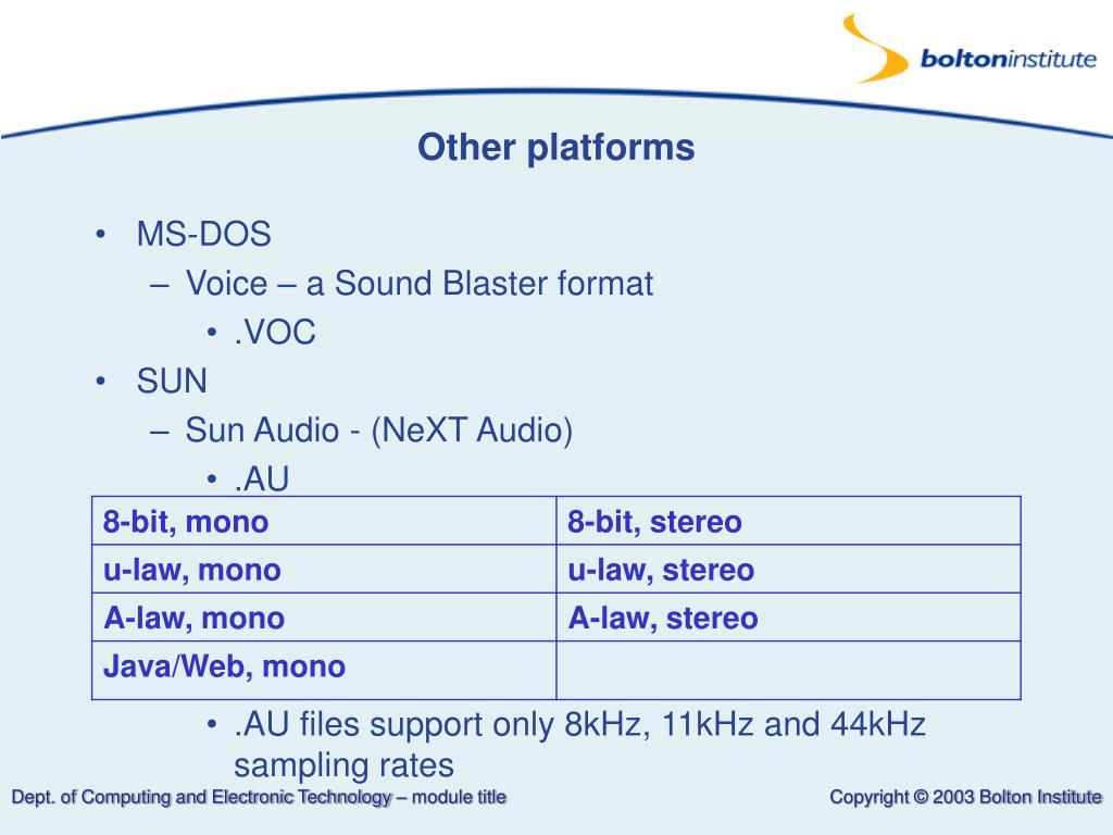 Other platforms