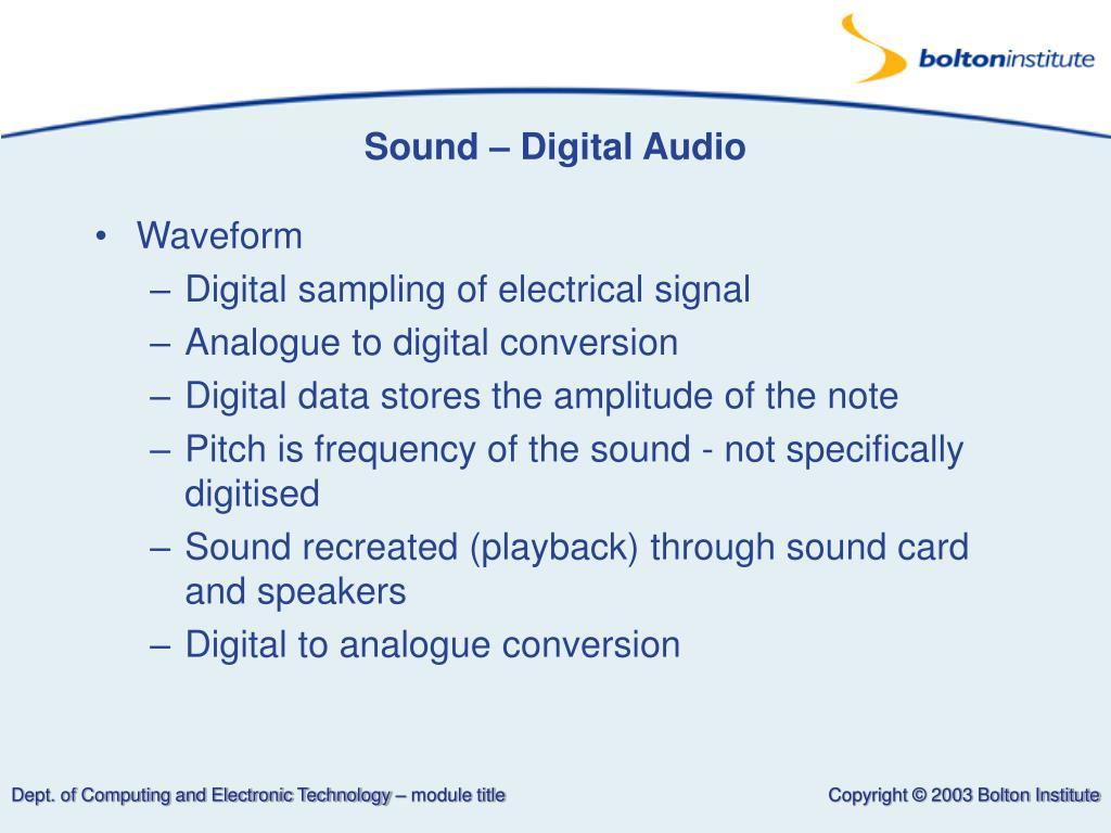 Sound – Digital Audio