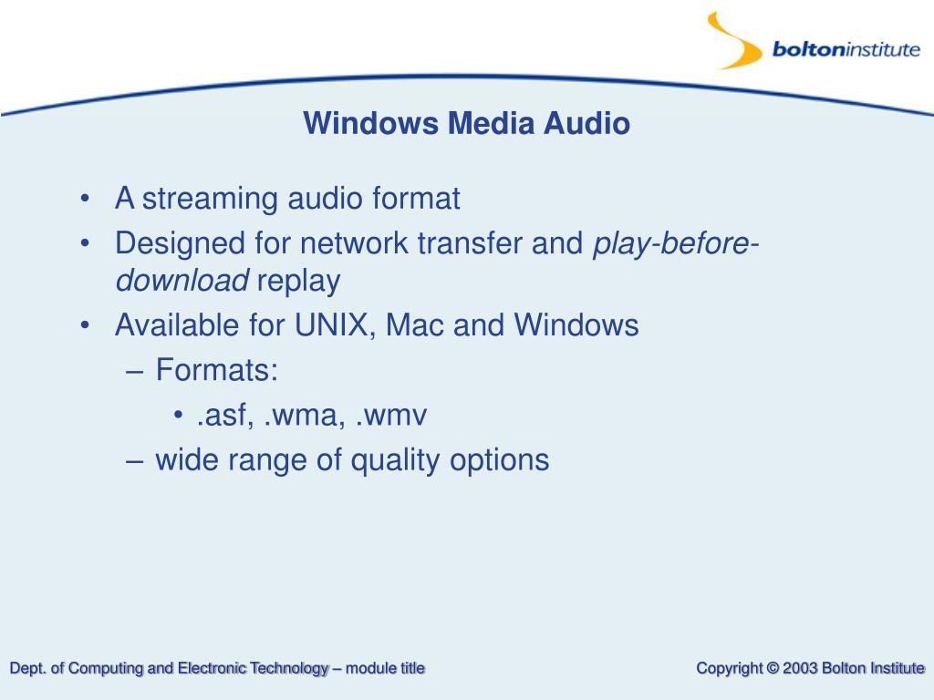 Windows Media Audio