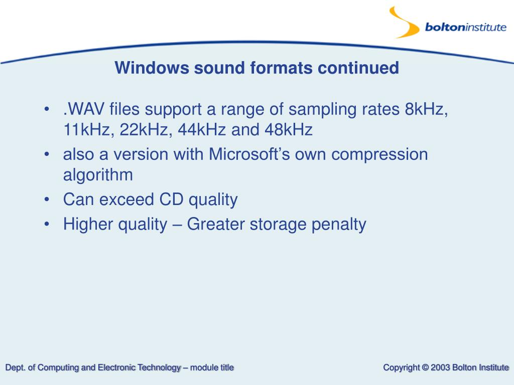 Windows sound formats continued