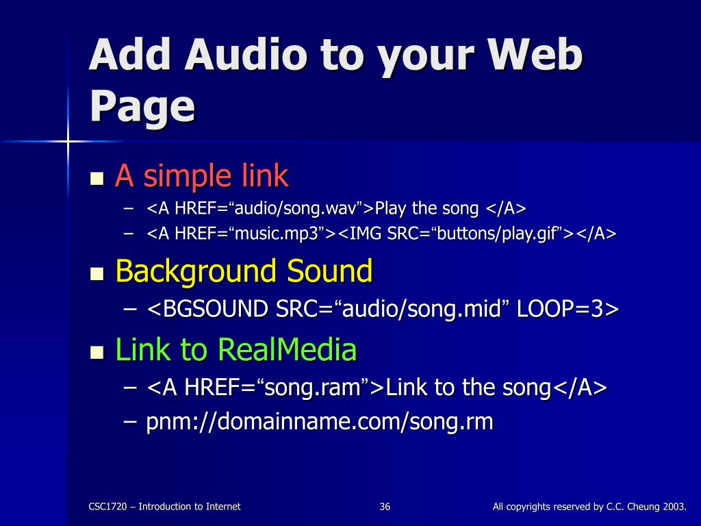 Add Audio to your Web Page