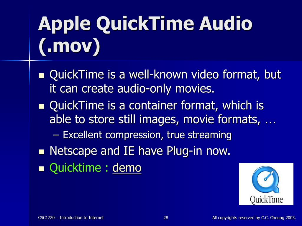Apple QuickTime Audio (.mov)