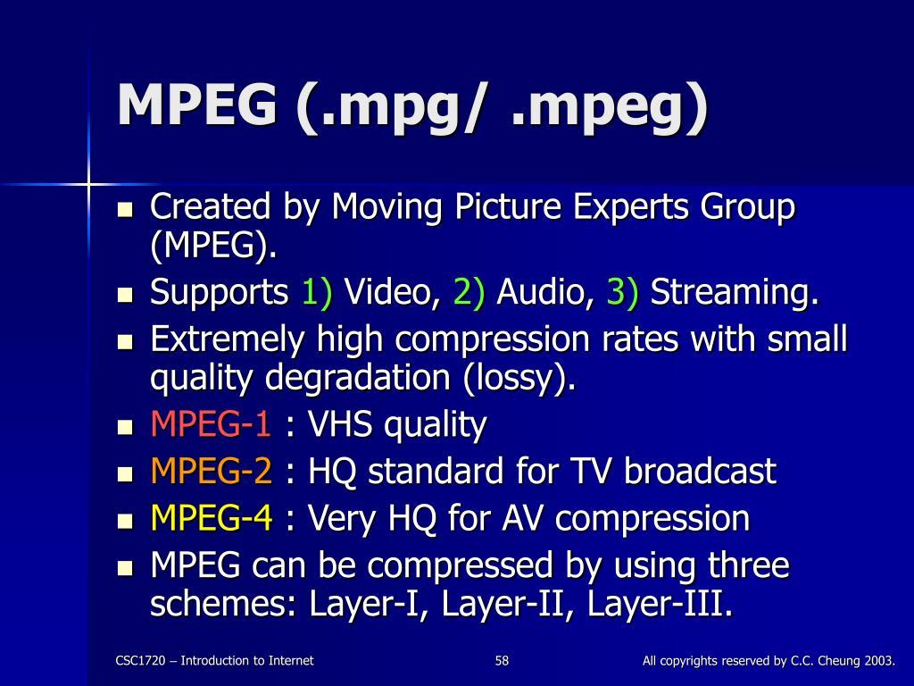 MPEG (.mpg/ .mpeg)