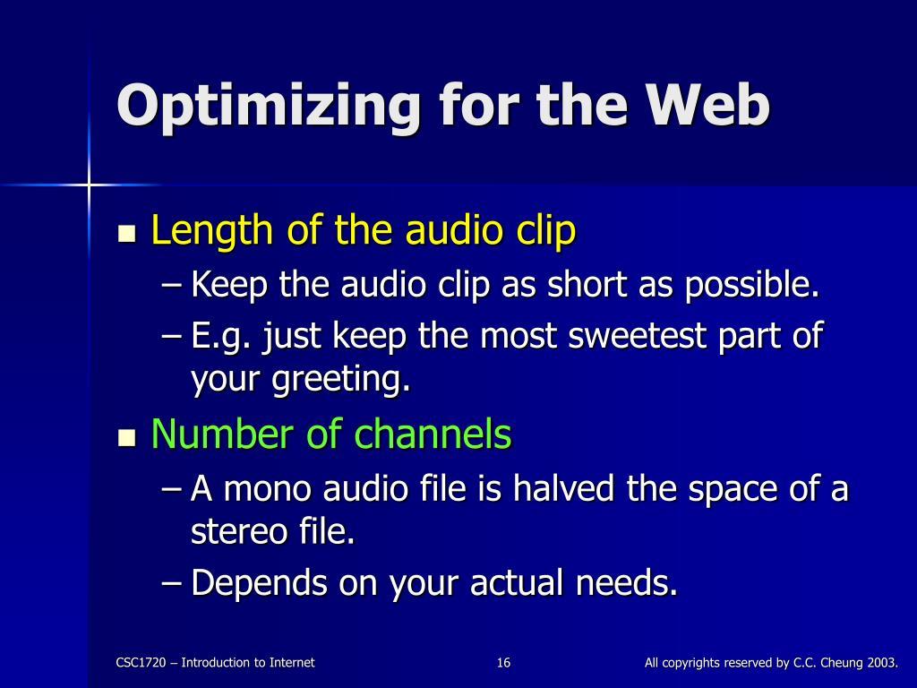 Optimizing for the Web
