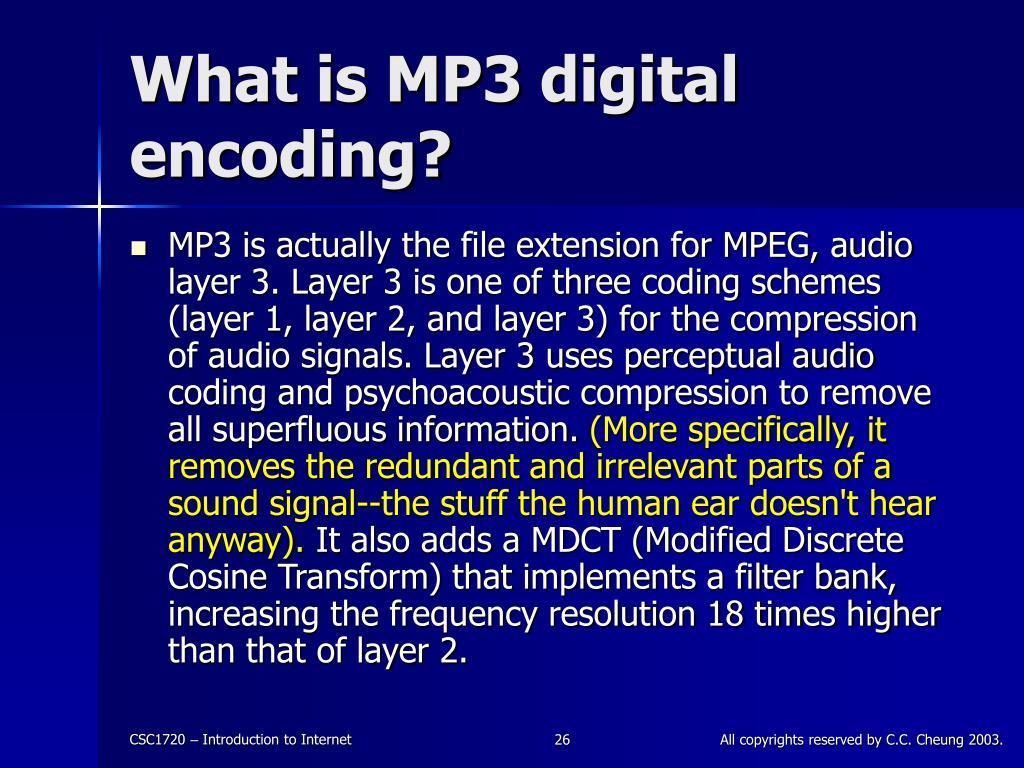 What is MP3 digital encoding?