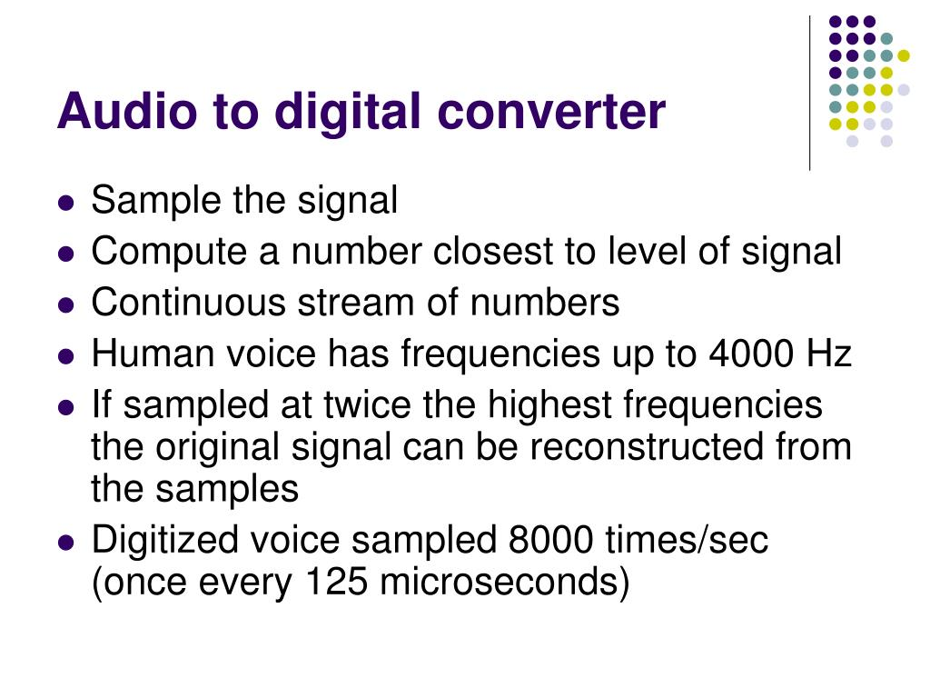 Audio to digital converter