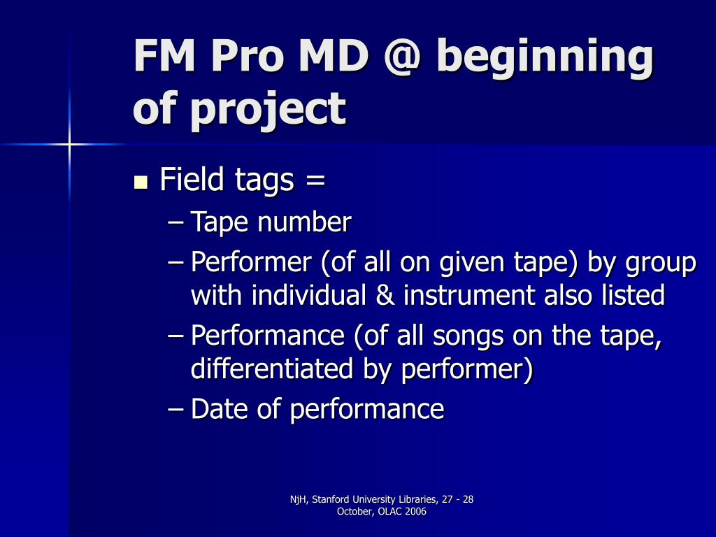 FM Pro MD @ beginning of project