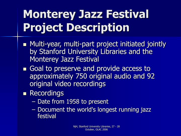 Monterey jazz festival project description
