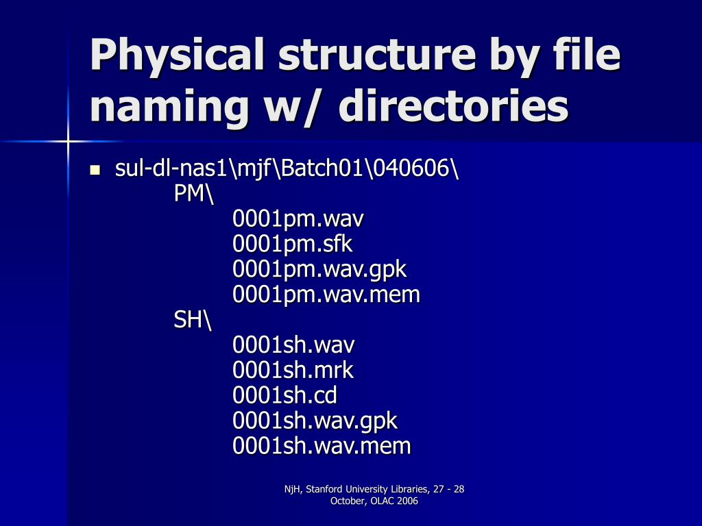 Physical structure by file naming w/ directories