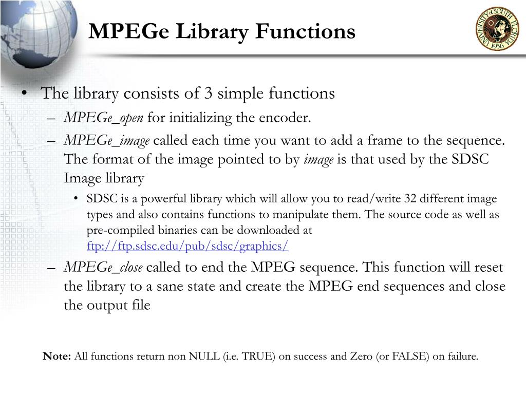 MPEGe Library Functions