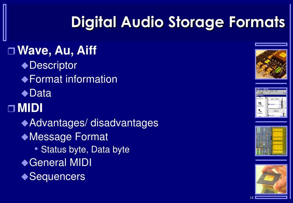 Digital Audio Storage Formats