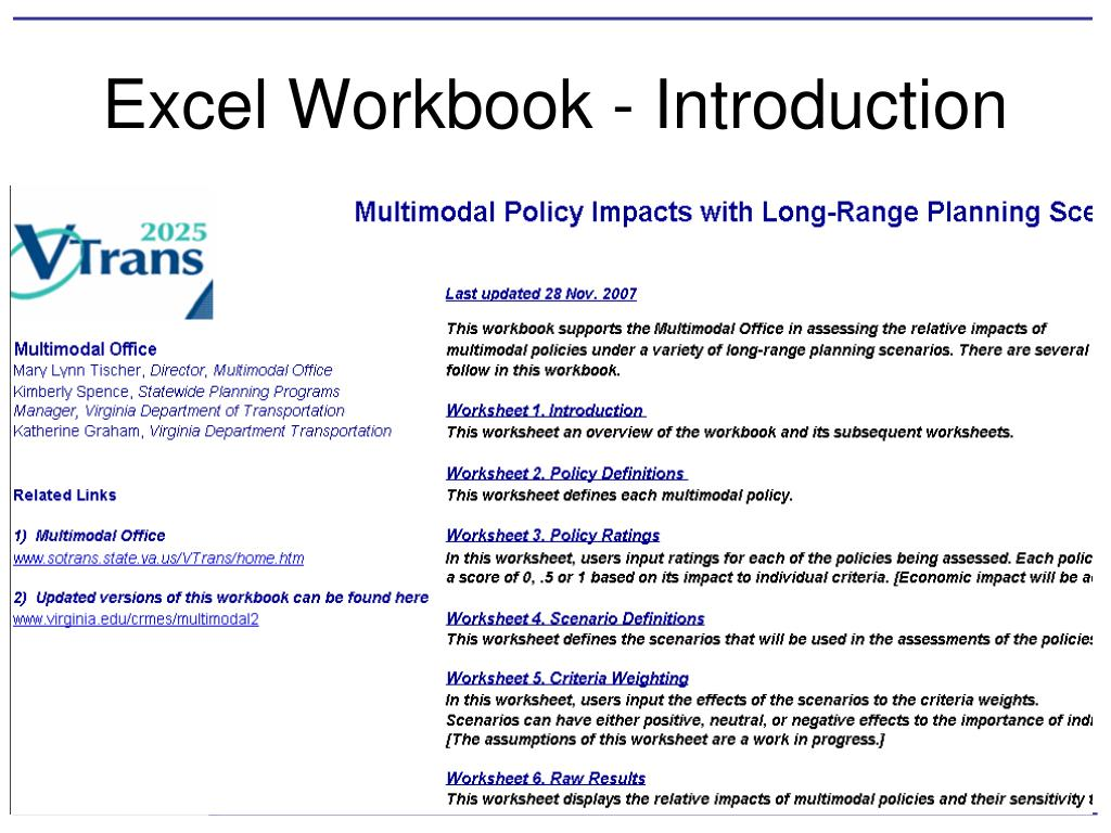 Excel Workbook - Introduction