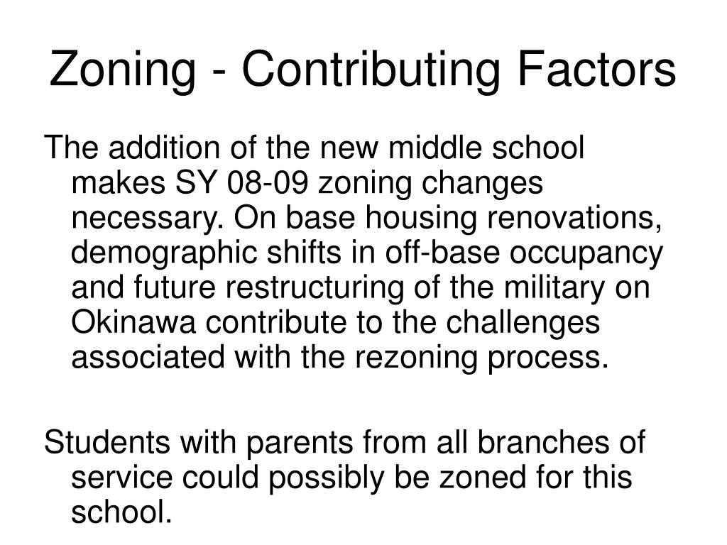 Zoning - Contributing Factors