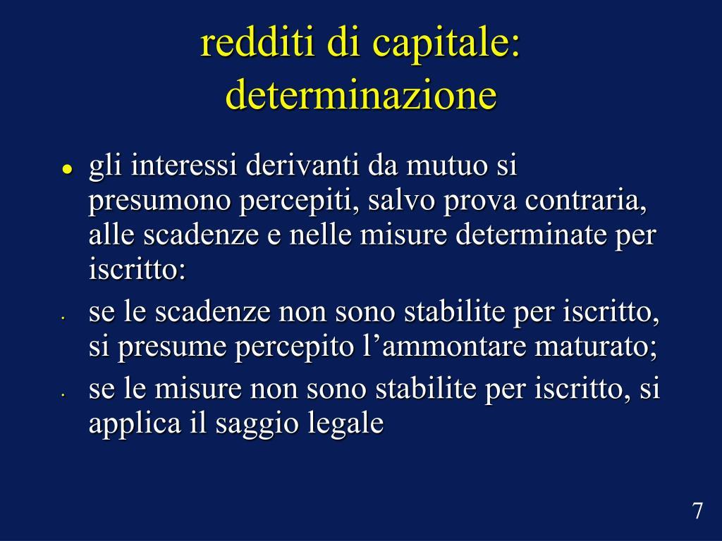 redditi di capitale: determinazione
