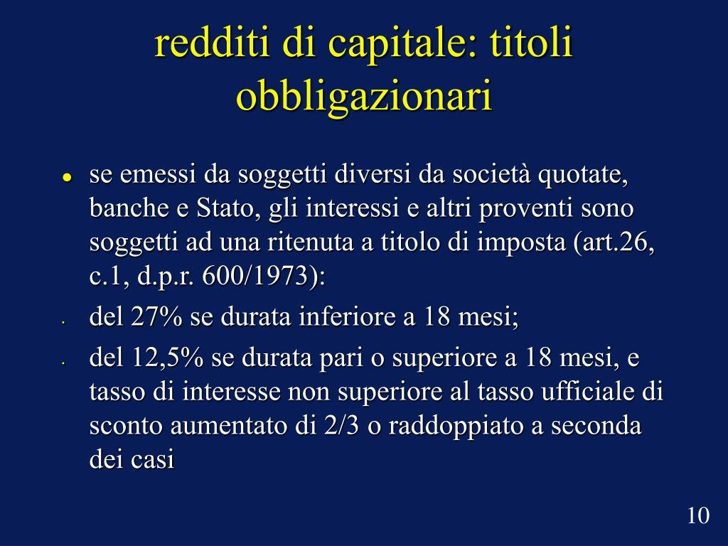 redditi di capitale: titoli obbligazionari