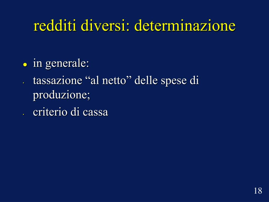 redditi diversi: determinazione
