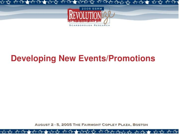 Developing New Events/Promotions