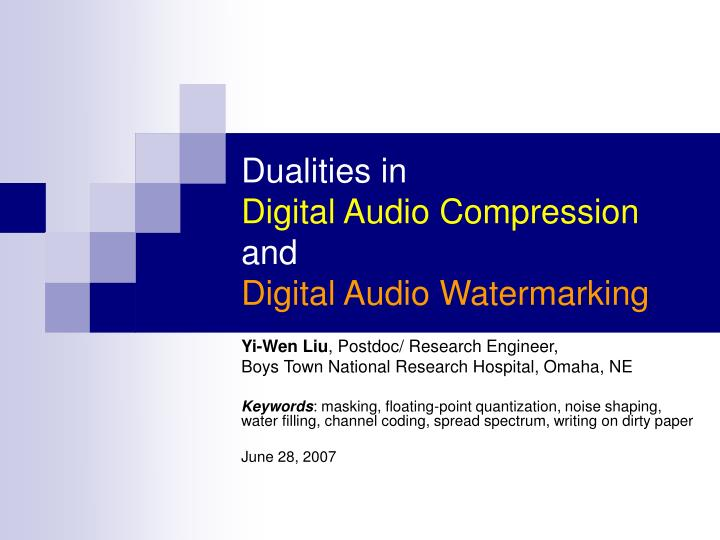 Dualities in digital audio compression and digital audio watermarking