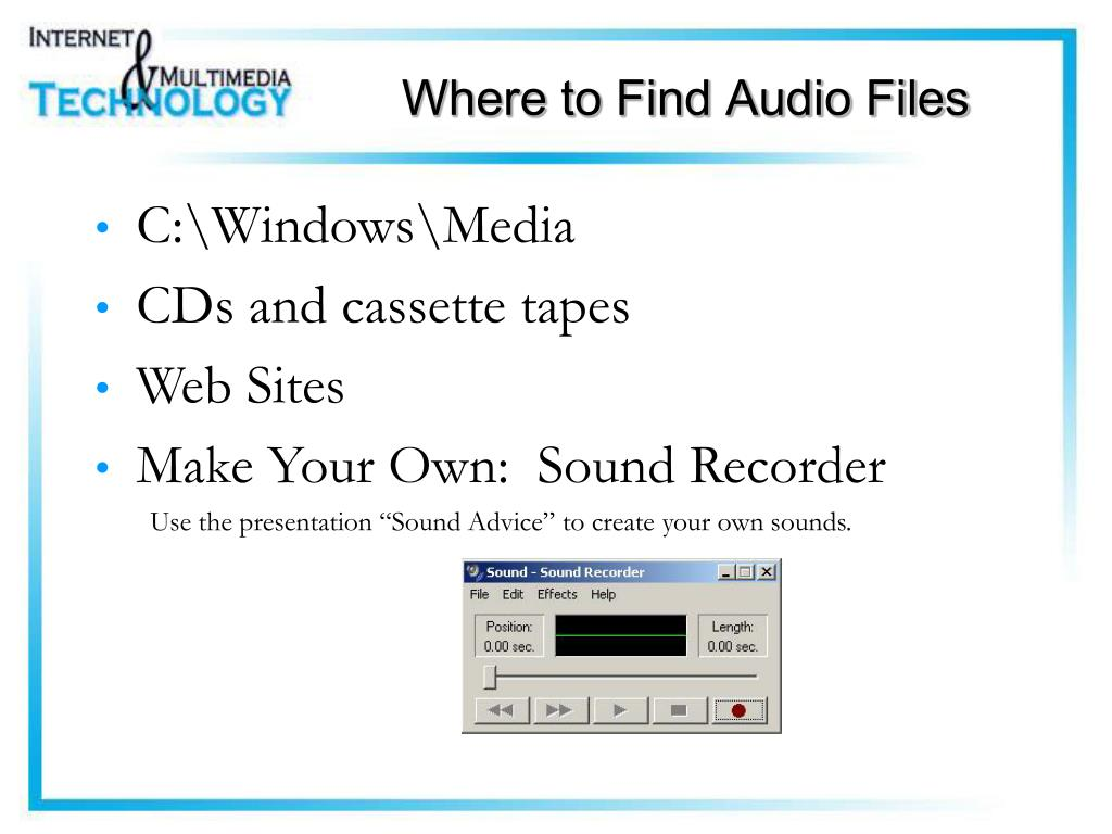Where to Find Audio Files