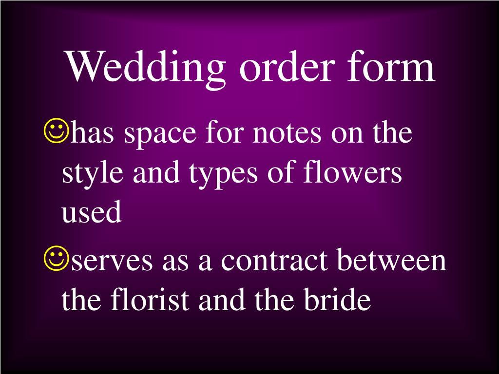 Wedding order form