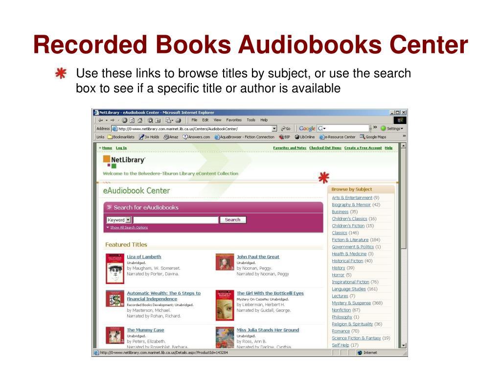 Recorded Books Audiobooks Center