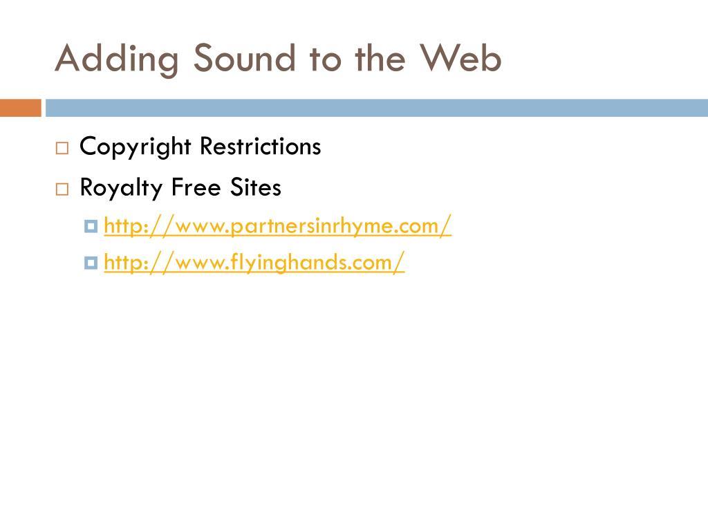 Adding Sound to the Web