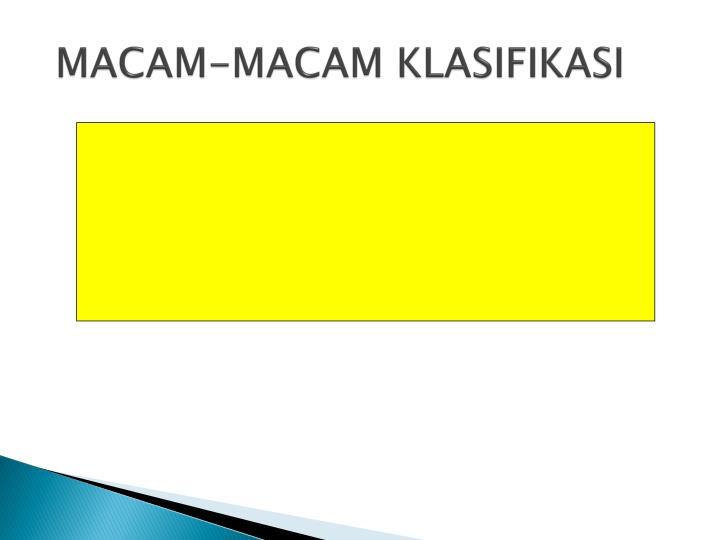MACAM-MACAM KLASIFIKASI