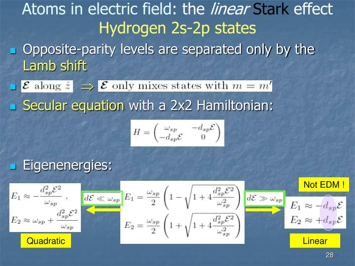 Atoms in electric field