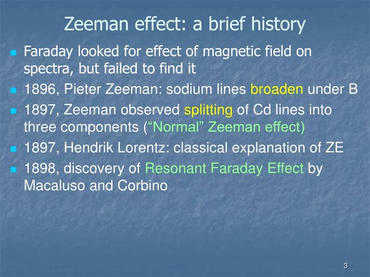 Zeeman effect a brief history