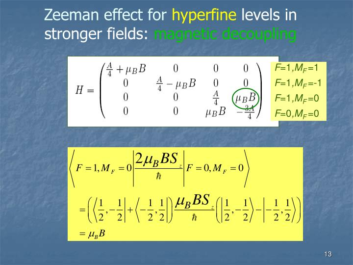 Zeeman effect for