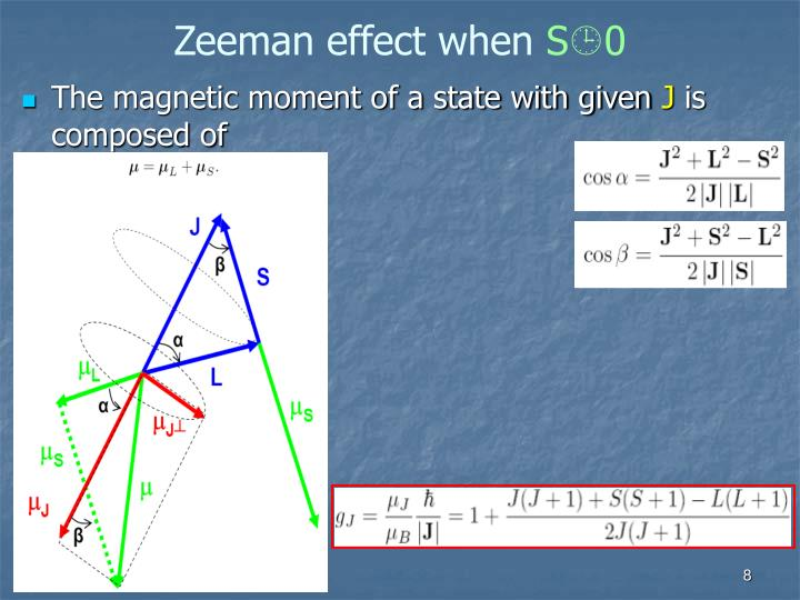 Zeeman effect when