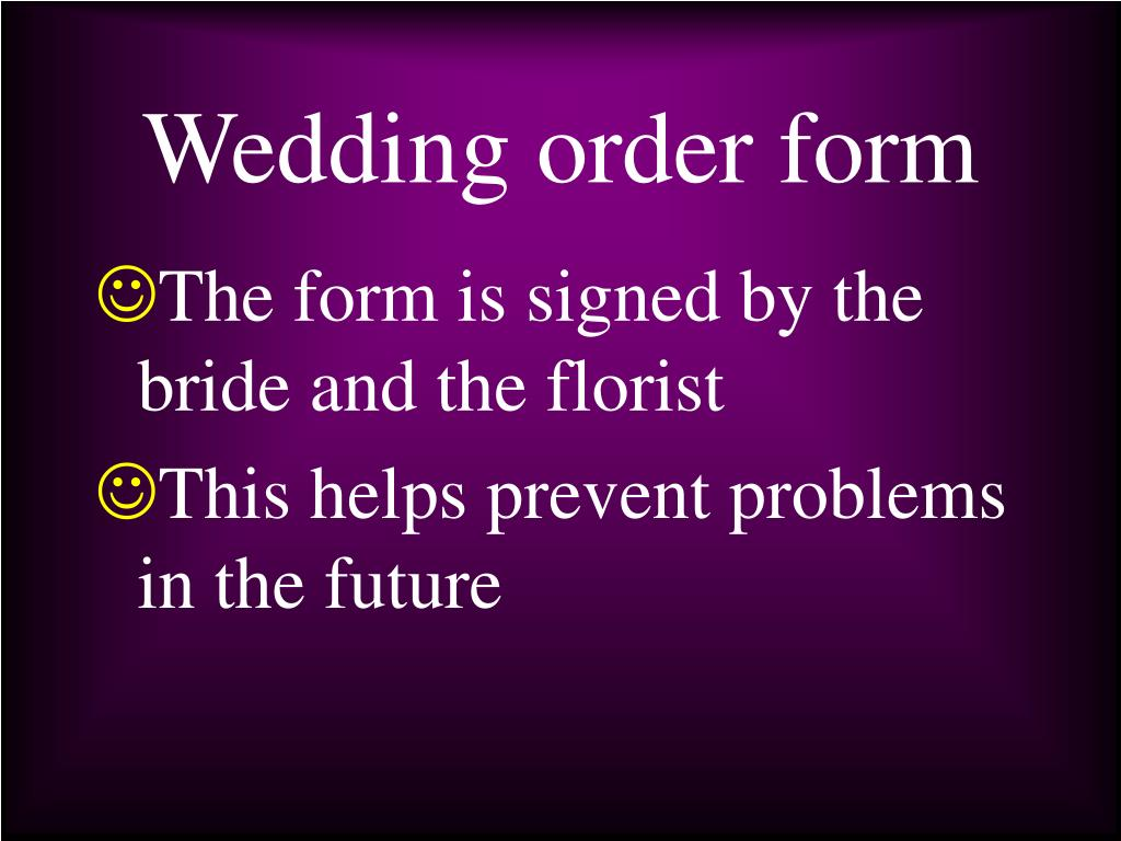 Wedding order form