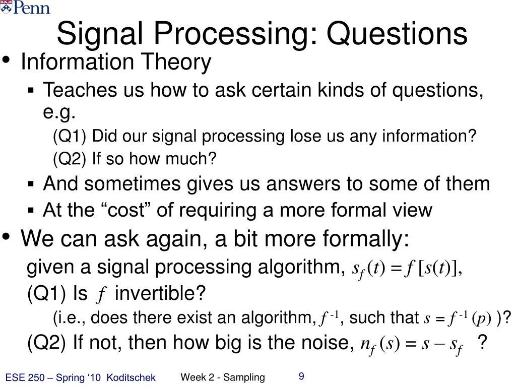 Signal Processing: Questions